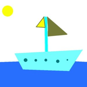 Webinar Light Blue Boat with green sails traveling on the sea under the summer sun