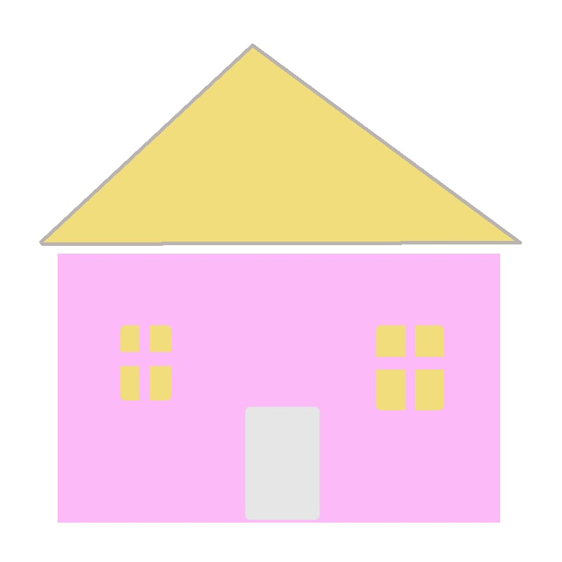 Pink wall and yellow roof house digital drawing as simple shap as a child