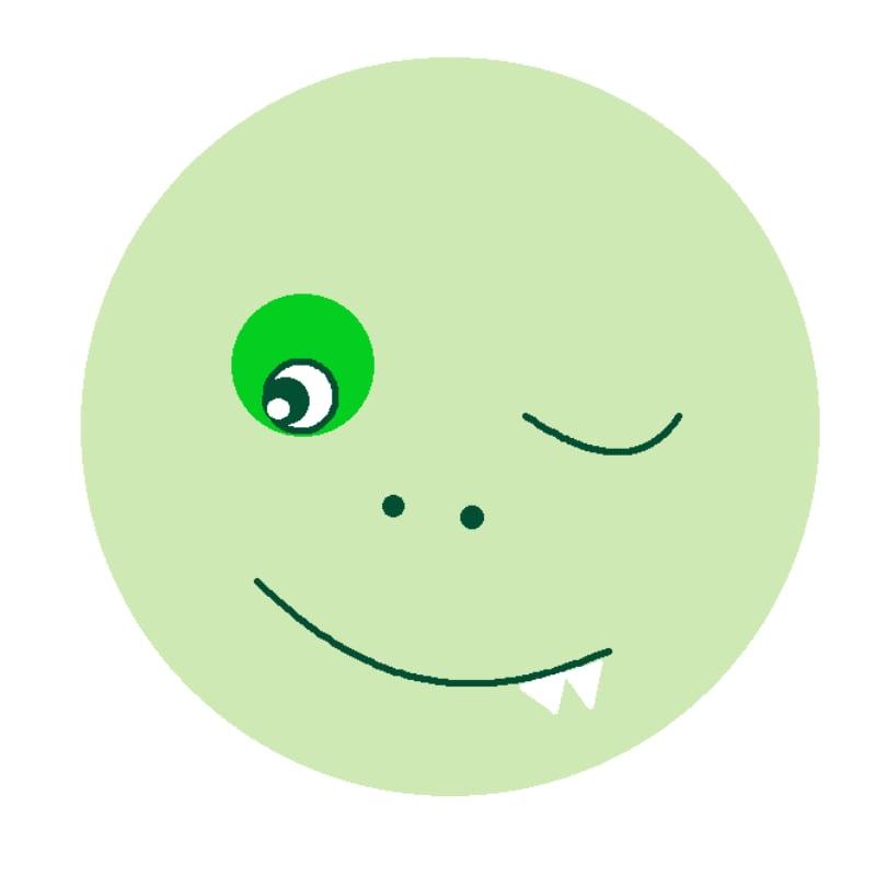 Animation Originale Webinaire  : Webinar Crazy light Green Smiley winking and showing teeth ana artist's webinar games Virtual illustration