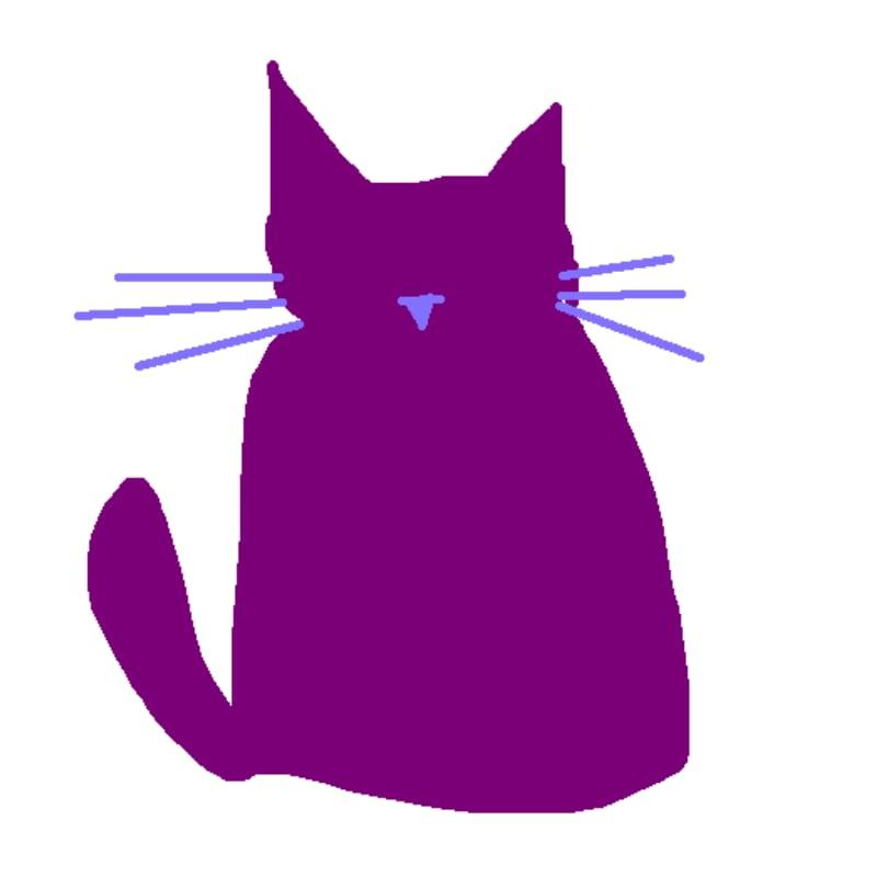 My Lovely Cat Purple Digital Drawing Artwork