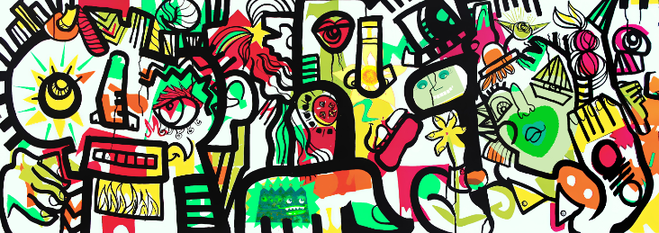 Animation Fresque Digitale - webinar collaborative artwork by ana artist and group during corporate remote event