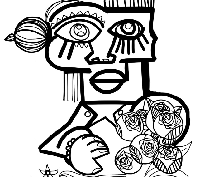 Digital Black and white Lady holding flowers drawn by aNa artist in her welcome mural for webinar games website