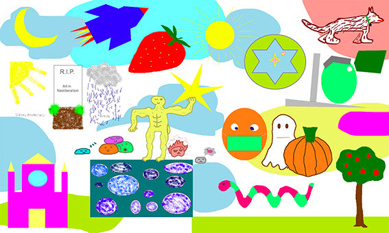 Sample of a Virtual Artistic Team Building Backdrop build by aNa artist with webinar.games drawings online