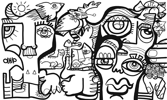 Black and White drawing by aNa artist from a Virtual Mural Team Building done with webinar.games and a german team