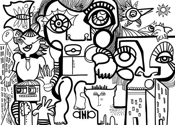 Fresque Noir et blanc ana artiste réalisée lors d'une séance d'Activité Team Building Digital Créatif Télétravail Lyon avec webinar games