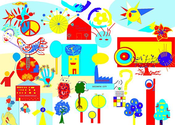 Fresque collective SERL Groupe Exercice Cohésion en Télétravail à distance avec aNa artiste pour webinar games