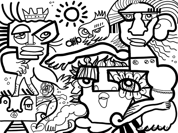 Fresque Virtuelle crée par l'artiste digitale aNa pour le cabinet Belpaeme Conseil lors d'un webinar brainstorming