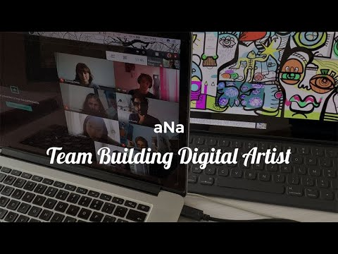 Digital Team Building Activity - Must-Have Virtual Tool - How to Brainstorm Remotely and Create an Artwork Together with aNa Artist online.
