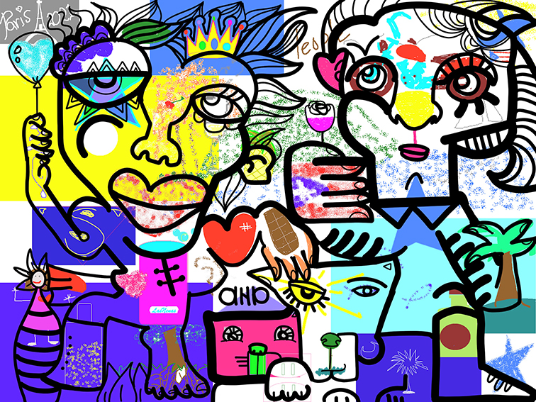 Virtual Happy Hour Remote Event Mural – Friends Family Teams Collegues Teammates – Idea Activity Game Gift Box Icebreaker – Collaborate remotely with aNa artist from all around the world in the same time. And then order your printed memory at anytime.