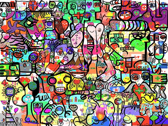 Séminaire Intégration en Télétravail fresque aNa artiste Animation Séminaire Integration étudiants étudiantes médecine université Lyon 1